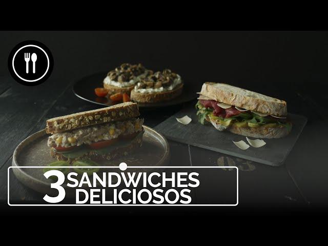 Tres sándwiches deliciosos para el almuerzo o la cena