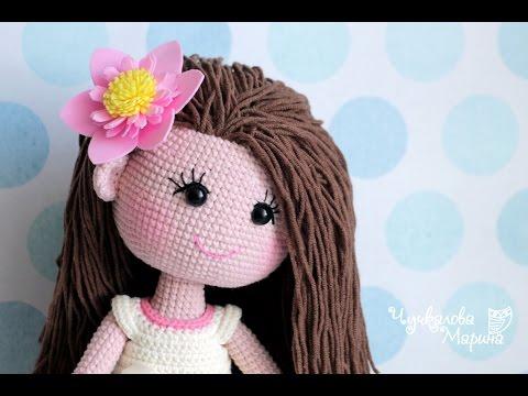 Крепление волос к готовой голове вязаной куклы без узелков и пришивания