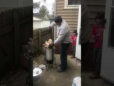 First time frying a turkey...stay inside please.