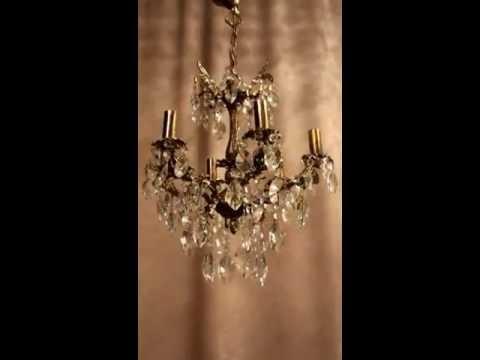 Antik Kristall Kronleuchter Deckenlüster Lampe Jugendstil Messing Luxus Empire