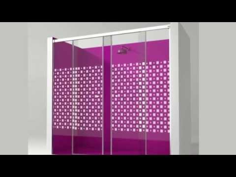 Malva Mampara para bañera y ducha con puertas correderas
