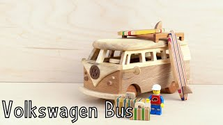 How To Make a Wooden Toy Volkswagen Bus | Wooden Miniature | Lego Surfing - Wooden Creations