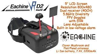 """Eachine VR D2 5"""" FPV Goggles, Dual receiver 40Ch, 5.8GHz, DVR, Diversity, Voltage alarm, Lens adjust"""