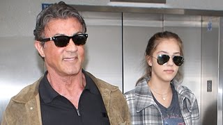 Sylvester Stallone And Daughter Sophia At LAX