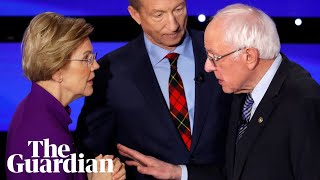 After the conclusion of the last Democratic debate before the Iowa caucus, Elizabeth Warren appeared to reject the offer of a handshake from opponent Bernie Sanders. The moment came after several days of tension between the two camps, shattering a longstanding detente between America's leading progressives. The squabble culminated in a dispute over remarks Warren claimed Sanders had made to her privately about the ability of a woman to successfully take on Trump Subscribe to Guardian News on YouTube ► http://bit.ly/guardianwiressub  Democratic debate: Warren appears to reject handshake with Sanders after clash – as it happened ► https://www.theguardian.com/us-news/live/2020/jan/14/democratic-debate-live-news-tonight-bernie-sanders-elizabeth-warren-biden-latest-updates-2020?page=with:block-5e1e91418f0852212f74e357#block-5e1e91418f0852212f74e357  Support the Guardian ► https://support.theguardian.com/contribute  Today in Focus podcast ► https://www.theguardian.com/news/series/todayinfocus  The Guardian YouTube network:  The Guardian ► http://www.youtube.com/theguardian Owen Jones talks ► http://bit.ly/subsowenjones Guardian Football ► http://is.gd/guardianfootball Guardian Sport ► http://bit.ly/GDNsport Guardian Culture ► http://is.gd/guardianculture
