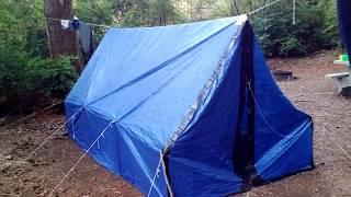 bushcraft - Prototype - hammock wall tent made from polyethylene tarp