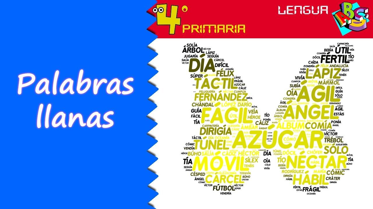 Lengua Castellana. 4º Primaria. Tema 3. Las palabras llanas