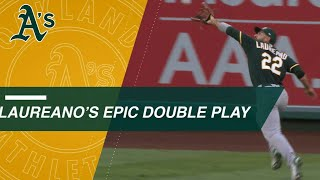 Ramon Laureano fires a 321-ft. throw to turn a double play