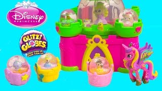 Glitzi Globes Disney Princess Cinderella Belle Beauty&the Beast Castle Water Playset Toy Unboxing