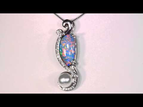 Opal and Pearl Pendant With Fine Diamond