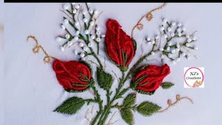 46- Hand Embroidery Rose Buds| Brazilian Embroidery|No Sound