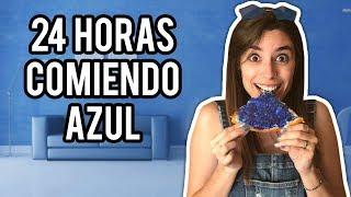 24 HORAS COMIENDO EN UN MUNDO AZUL   Lyna Vlogs