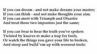 """""""If...."""" by Rudyard Kipling (read by Tom O"""