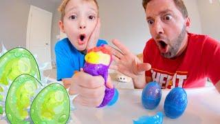 Father & Son BREAK GROSS ALIEN EGGS !? / Treasure Inside!?