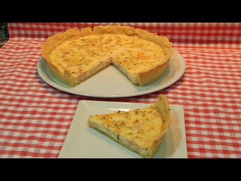 Receta de pastel salado con jamón y queso con masa casera (quiche)