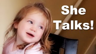 Autistic 2 Year Old Practices Speech at Home with Mom