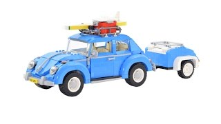 Super smooth Lego® build: Volkswagen beetle 10252 with Luggagecar - (review in stop motion)