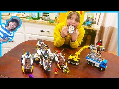Motorized Lego Ninjago Stealth Raider Vs  Lego City Dump Truck and Excavator