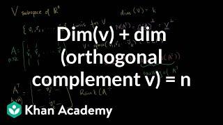 Linear Algebra: dim(V) + dim(orthogonoal complelent of V)=n
