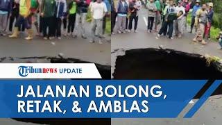 Video Detik-detik Jalan Menuju Kawasan Wisata Guci Tegal Amblas dan Bolong, Akses Jalan Terhambat