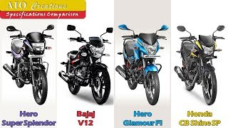 Hero Super Splendor VS Bajaj V12 VS Hero Glamour Fi VS Honda CB Shine SP