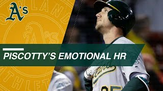 Stephen Piscotty hits an emotional home run in his first at-bat after his mother
