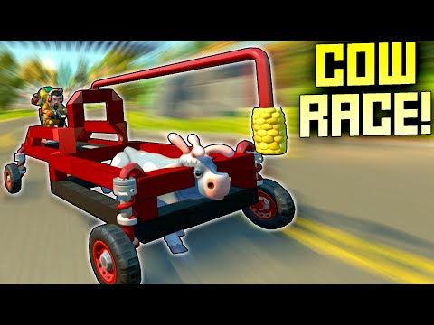 Cow Powered Car Race! Because We Needed The Excitement! - Scrap Mechanic Multiplayer Monday