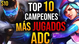 TOP 10 Campeones MÁS USADOS de ADC en LEAGUE OF LEGENDS | GUÍA LOL S10