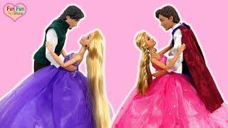 Rapunzel Elsa Barbie Castle One Morning-Princess dolls Ball Dance Putri Barbie Kastil Festa de dança