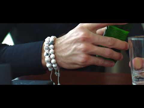 HOWLITE Flatbead Bracelet - White Gemstones & White Gold CZ Bead
