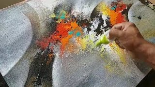 Abstract Painting / How To Paint Abstract Painting In Acrylics / Demonstration