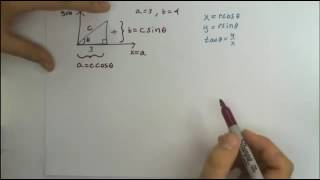 Intro To Trig Functions, Solving A Right Triangle And Notations On An X/y Graph.