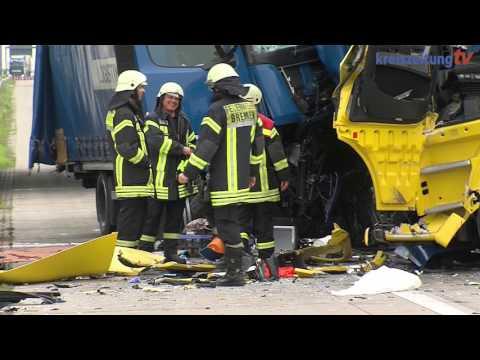 Schwerer Lkw-Unfall auf der A1 an der Anschlussstelle Bremen-Arsten