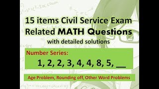 MATH: 15 items CSE related Math questions meron ditong lumabas last August 12