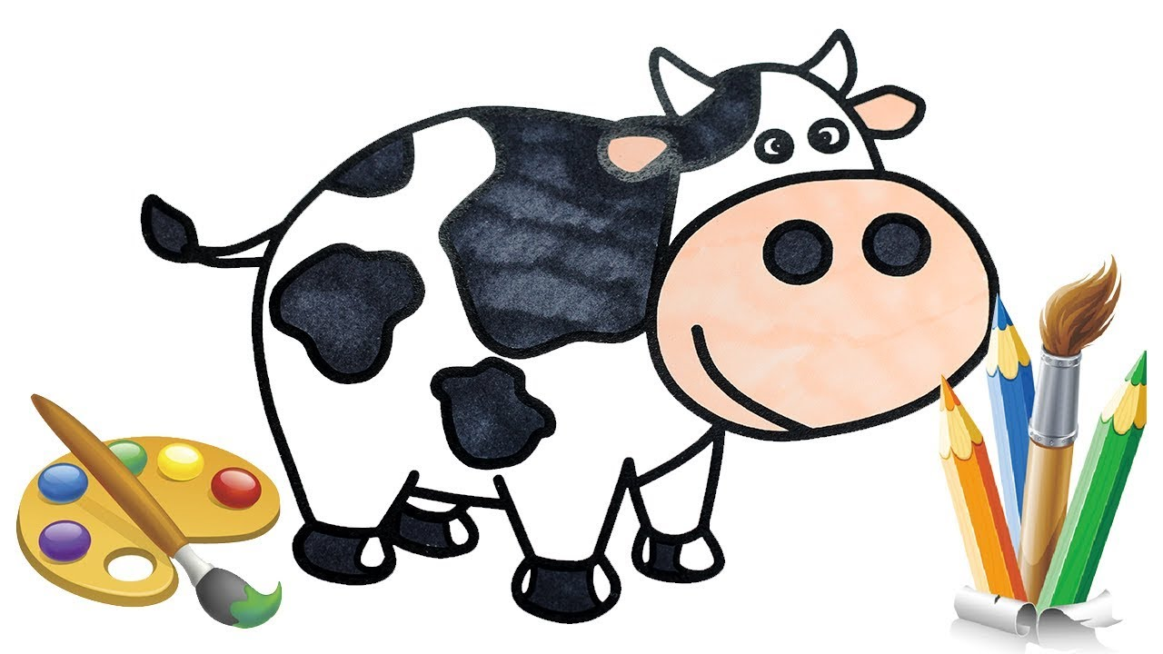How to Draw Cow Coloring Pages for Kids Learn Colors Drawing Video for Children