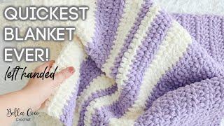 LEFT HANDED CROCHET | FAST AND EASY BLANKET | BEGINNER FRIENDLY | Bella Coco Crochet