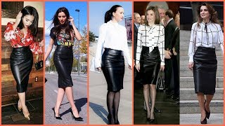 Designer Pour Leather Pencil Skirts Designs For Business Womens