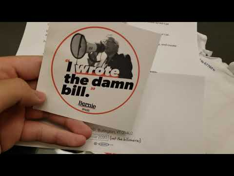 "Finally Getting My Bernie Sanders' ""I Wrote The Damn Bill"" Bumper Stickers! Sanders Vs. Warren"