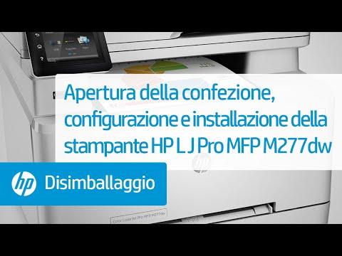 Apertura della confezione, configurazione e installazione della stampante HP Color LaserJet Pro MFP M277dw
