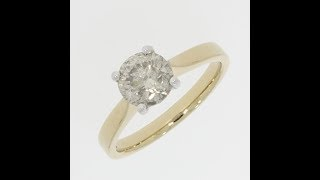 9ct Gold 1.70cts Solitaire Ring Brilliant Cut Diamond