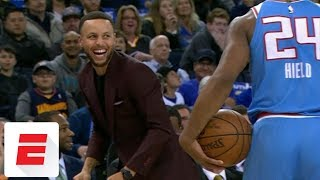 Stephen Curry trolls Buddy Hield after out-of-bounds call   ESPN