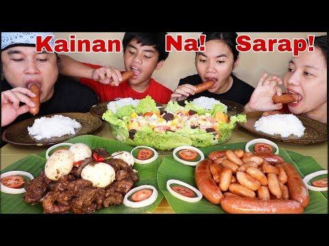 Chomps Sausage, Adobong Atay at leeg ng Manok,Deli Bockwurst and Vegetable Salad Pinoy Mukbang!