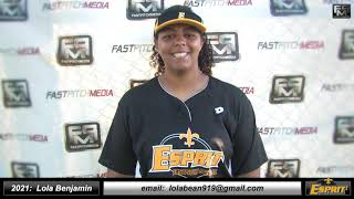 2021 Lola Benjamin Power Hitting First Base Softball Skills Video - Esprit Fastpitch