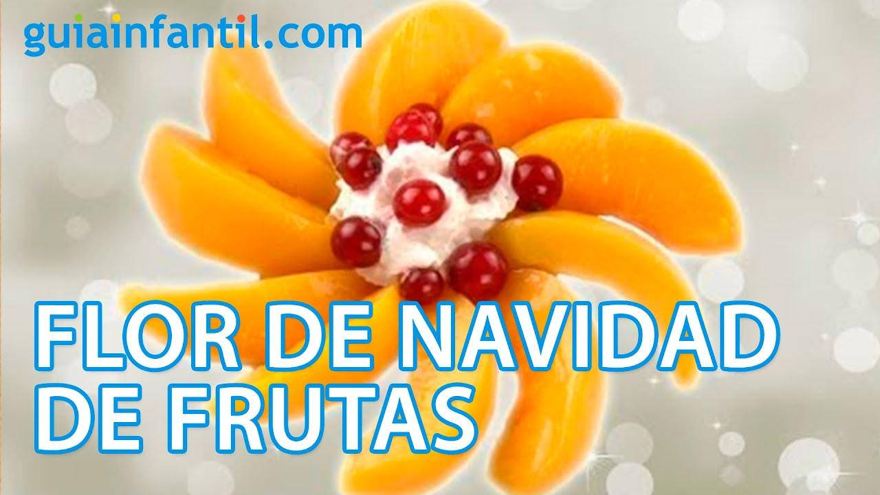 Flor de Navidad con frutas. Postre de Navidad