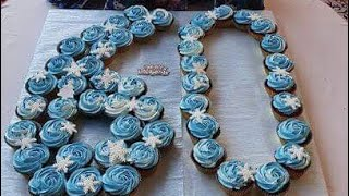 How To Make Quick And Easy Number 60 Cupcake Design | Cupcake Frozen Theme | 60th Birthday Cupcakes