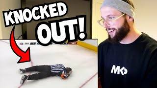 Rugby Player Reacts to NHL Hockey Refs Getting Hit!