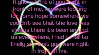 RIght In Front of You - Celine Dion w/ lyrics on screen