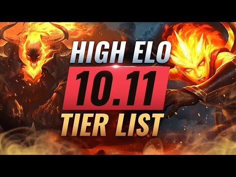 HIGH ELO Best Champions TIER List - League of Legends Patch 10.11