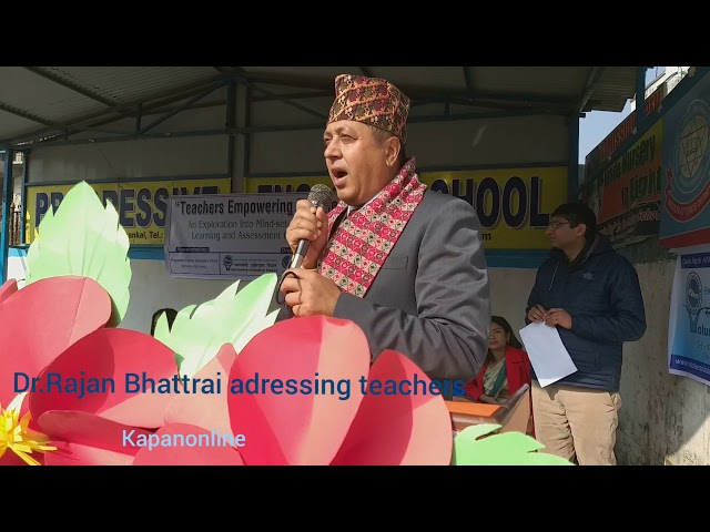 Dr.Rajan Bhattarai adressing teachers training
