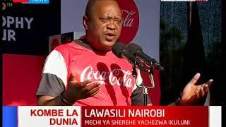 President Uhuru Kenyatta receives the FIFA World Cup trophy at State House